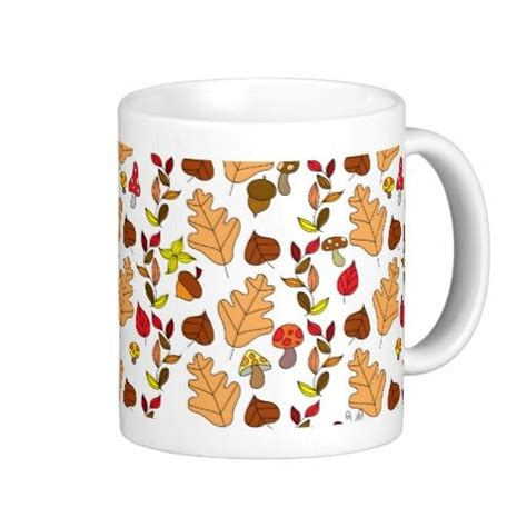 leaf pattern in coffee white fall leaf pattern mug cute stuff pinterest