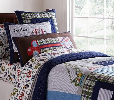 construction bedding twin busy builder quilted bedding pottery barn kids