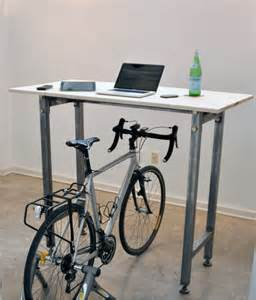 Desk Bicycle Kickstand Desk Enables Cyclists To Ride Their Bikes While