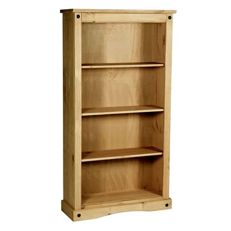 corona medium bookcase 4 shelves mexican solid waxed pine