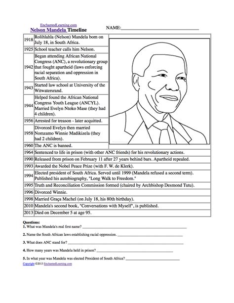 nelson mandela biography for ks2 black history worksheets pdf search results calendar 2015