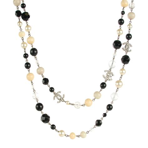 chanel beaded necklace chanel pearl cc beaded necklace 120105