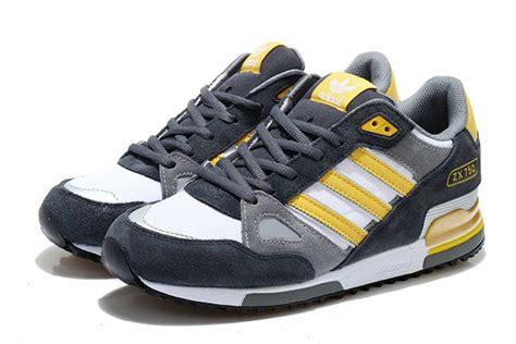 classic adidas zx 750 retro running shoes blue gray yellow white black cheap