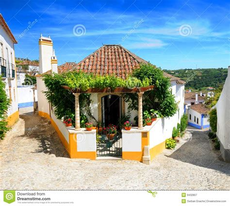 Home Plans With Porch obidos village portugal royalty free stock photography