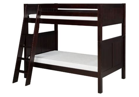 Bunk Bed Ladder Hardware Camaflexi Panel Style Solid Wood Low Bunk Bed Side Angled Ladder Cappuccino