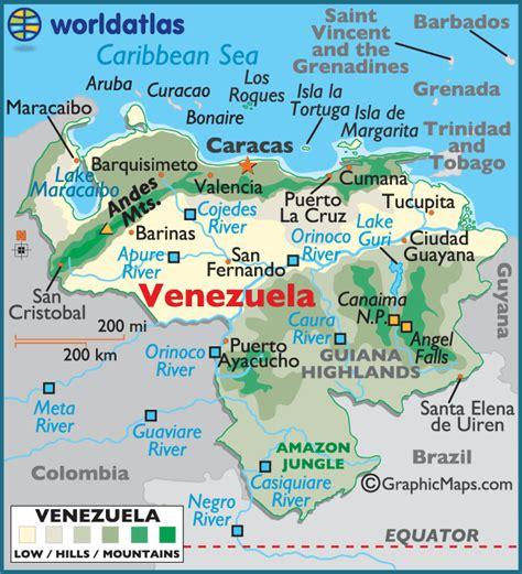 5 themes of geography venezuela venezuela large color map