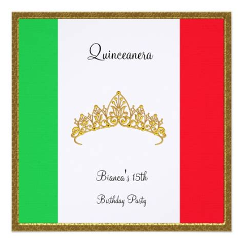 mexican themed quinceanera invitations quinceanera invitation mexico flag 5 25 quot square invitation
