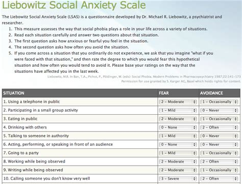 test fobia sociale measuring social anxiety social anxiety tests scales