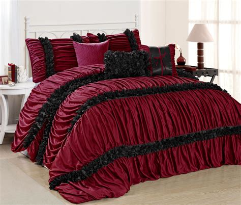 7 piece caralina burgundy black comforter set