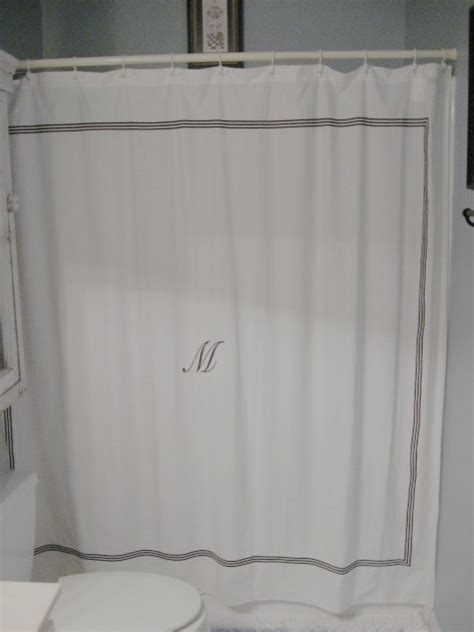 white shower curtain with black border a diy shower curtain southern hospitality