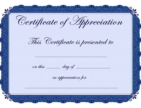 certificate of appreciation templates free appreciation certificate template certificate templates
