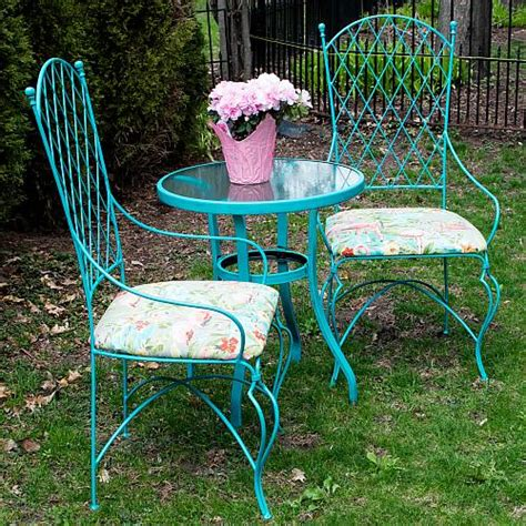 vintage wrought iron table  chairs update project
