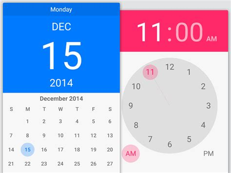 material design calendar ui psd lollipop pickers 4x material pinterest