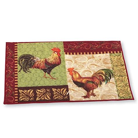 country rooster rugs country rooster leaf skid resistant accent rug 20 quot x 45 quot rooster home decor