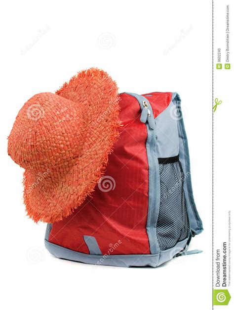Tas Backpack Strawhat straw hat and backpack stock photo image 9602240
