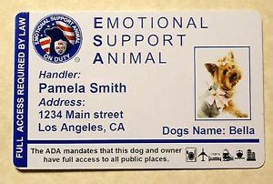 Esa Emotional Support Animal Id Card Therapy Dog Id Badge Service Dog Ada 24 Ebay Emotional Support Animal Id Card Template