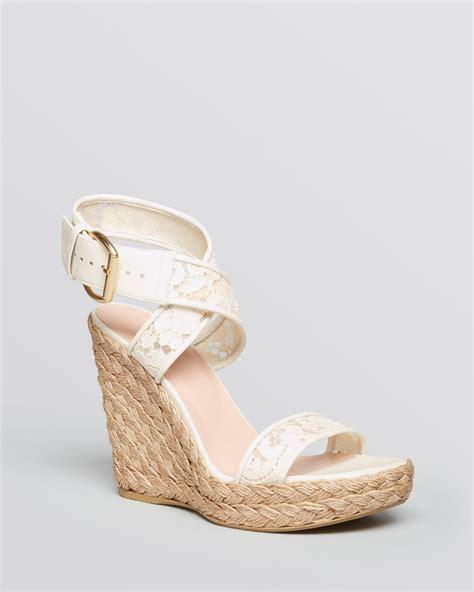 stuart weitzman platform espadrille wedge sandals guipure