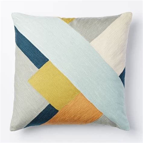 Crewel Pillow Covers by Crewel Modern Blocks Pillow Cover Pale Harbor West Elm
