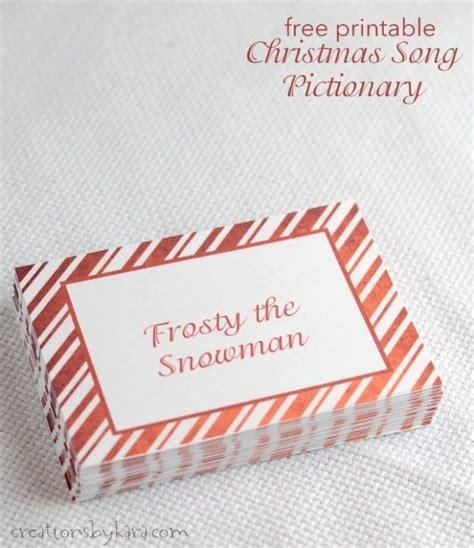 Printable Christmas Pictionary Cards   christmas songs pictionary free christmas game