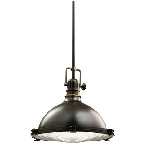 Pendant Light Bronze Kichler 1 Light Industrial Pendant 43201oz Olde Bronze