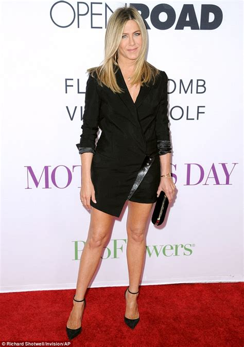 s day premieres 2014 aniston bares legs in a black blazer dress at