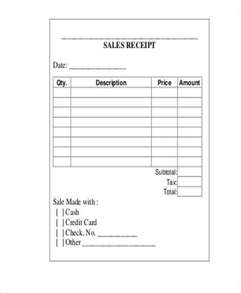 Blank Receipt Form Template by 23 Receipt Templates Free Premium Templates