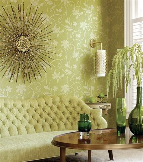 Green Wallpaper Room | wallpaper interior inspiration at home interior designs home