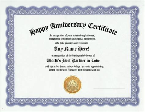 Wedding Anniversary Gift Certificate by Happy Anniversary Award Certificate Husband Gift