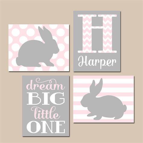 Girl Bunny Nursery Wall Art Pink Gray Nursery Baby Rabbit Bunny Nursery Decor