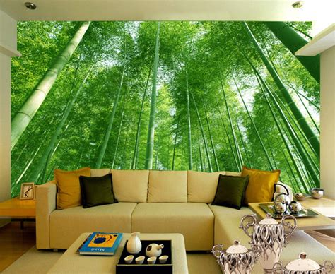wallpaper kamar alam wallpaper dinding ruang tamu motif hutan bambu nirwana