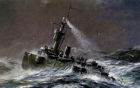 drawing boat and waves painting drawing the gunboat boat gilyaks ocean waves