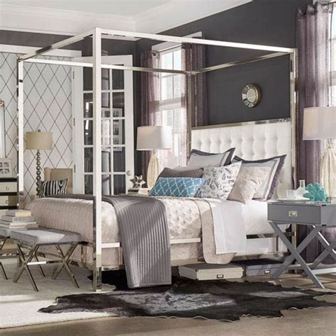 adora white glam chrome canopy bed homehills canopy canopy