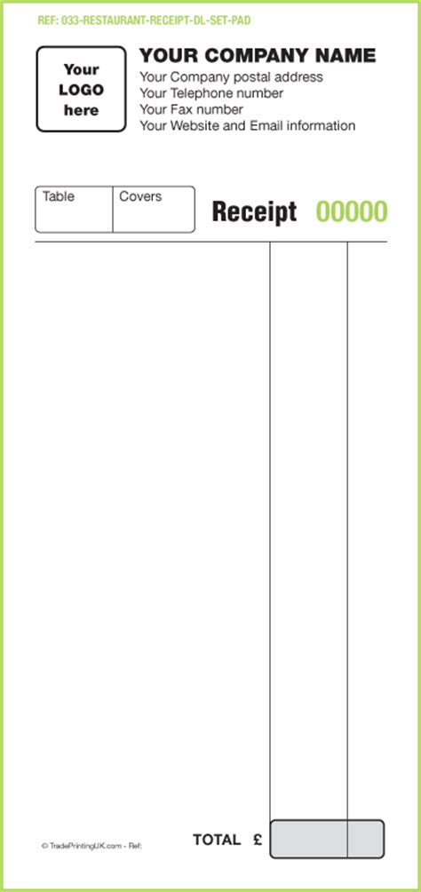 restaurant receipt template hotel and restaurant waitress order forms ncr sets template