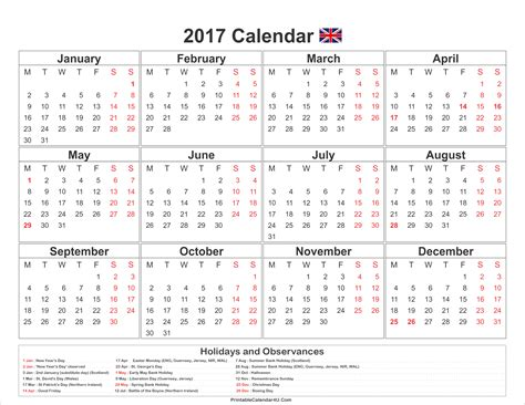 2017 Calendar With Holidays Printable 2017 Calendar Uk With Holidays Free Printable Calendar 2017