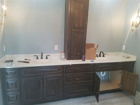 sink vanity with middle tower vanities bluegrass cabinet company