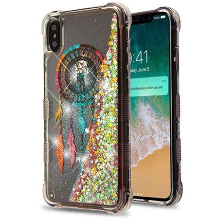 amzer tuffen glitter lite hybrid protector cover for iphone xs max dreamcatcher gold