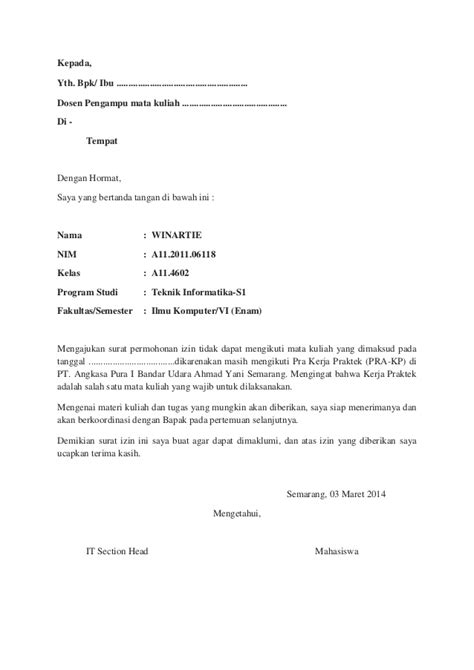 Surat Ijin Kerja Dinas by Contoh Surat Tidak Masuk Kerja Karena Izin Kotasurat
