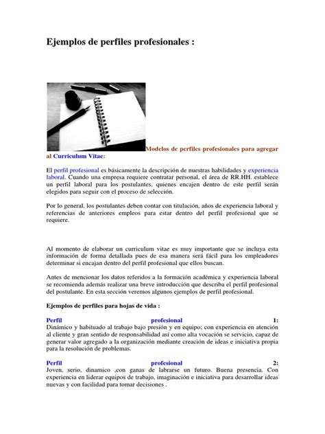 Modelo De Curriculum Vitae Perfil Profesional Ejemplos De Perfiles Profesionales