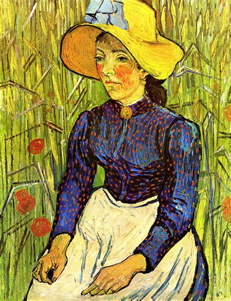 painting kizi peasant in a straw hat sitting in front of a