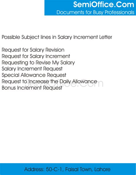 Appraisal Letter Subject What Is The Subject In Salary Increment Letter