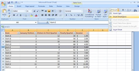 excel insert a row or column