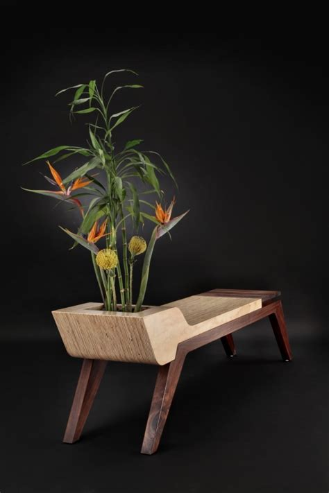 indoor plant bench modern bench with planter that made of concrete