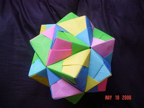 modular origami 30 units sonobe unit cumulated icosahedron modular origami flickr