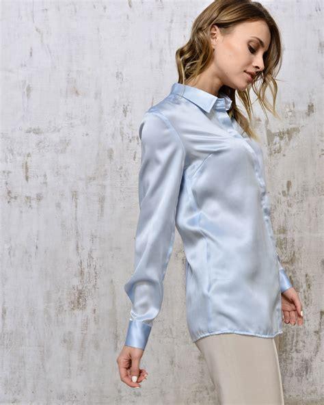 Blouse Blue Ribbon 2 pale blue silk blouse clothing