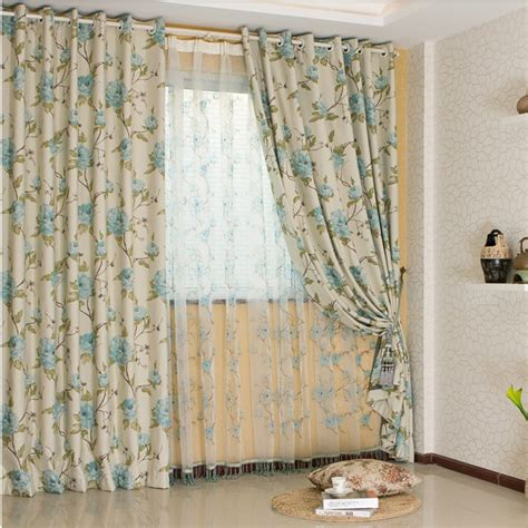 inexpensive country curtains country floral printed cotton and poly curtains two