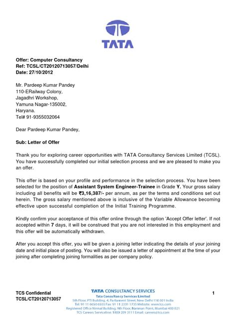 appointment letter of tcs offer letter insurance economies