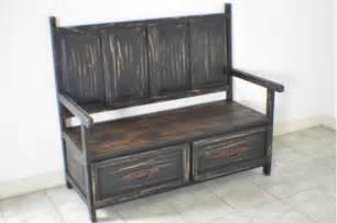 Rustic Storage Bench Black Distressed Rustic Monasterio Storage Bench Ebay