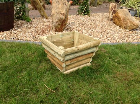 medium rustic wooden planter