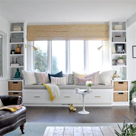 bench seating living room window seat and built ins reveal befores middles and