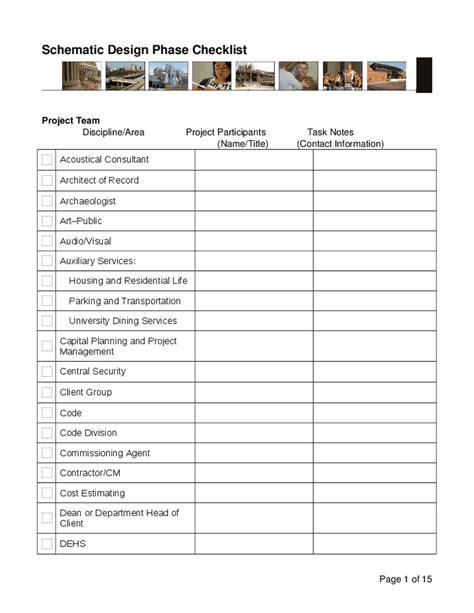 Landscape Architecture Quality Checklist Schematic Design Phase Checklist Hashdoc
